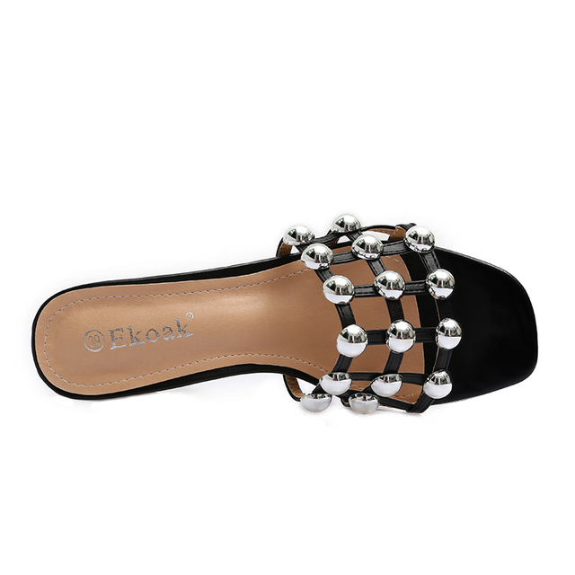 Ekoak 2017 New Checkered Rivets Women sandals Summer shoes woman Fashion high heels Gladiator women sandals Ladies beach slipper