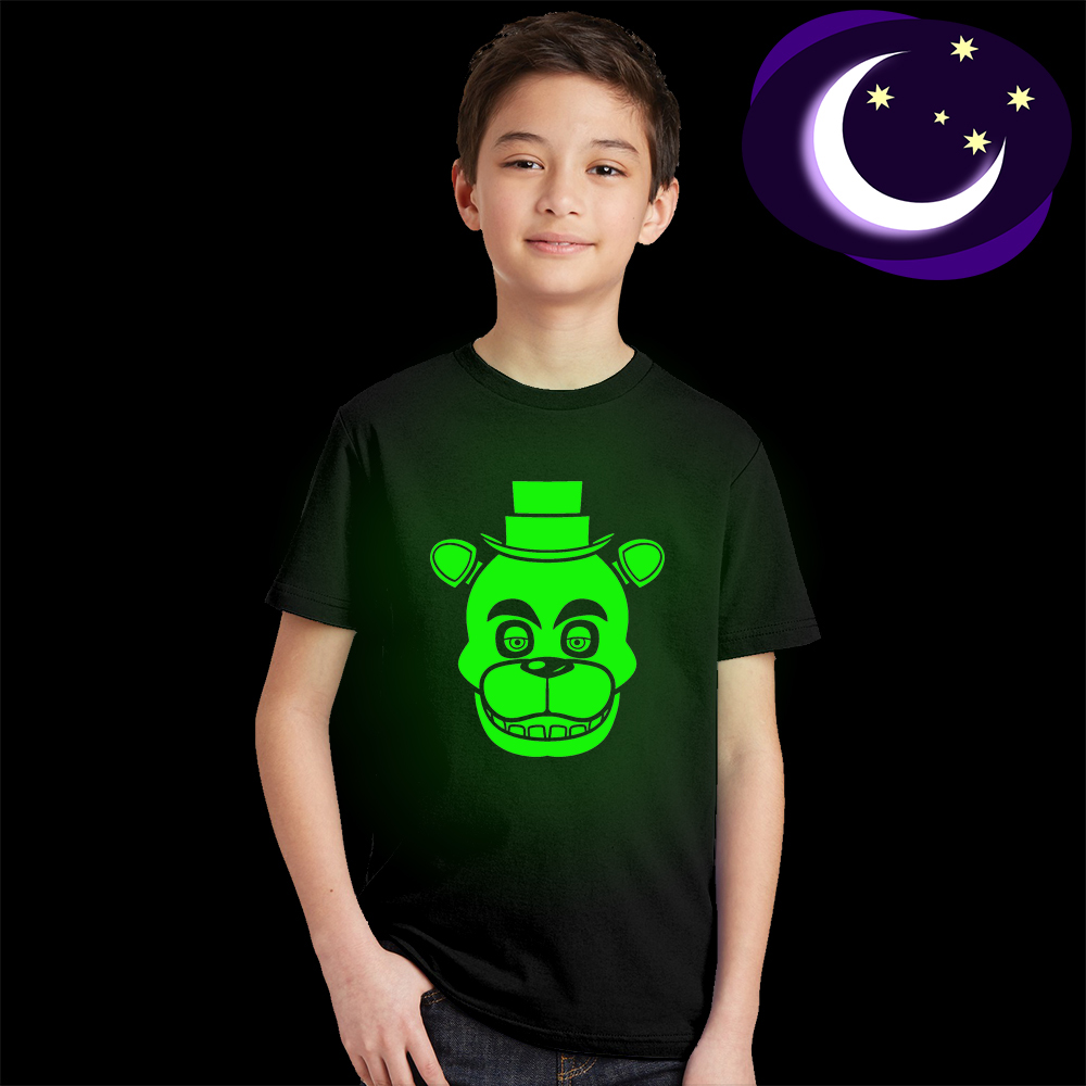 Glow In Dark Luminous Fluorescent FNAF Child T Shirt for Boys Girls Kids Five Night At Freddy Clothes Freddy Bear T-shirt Baby luminous black panther kids t shirt glow in dark teens boys summer t shirt fluorescent girls cool super hero tshirt baby clothes