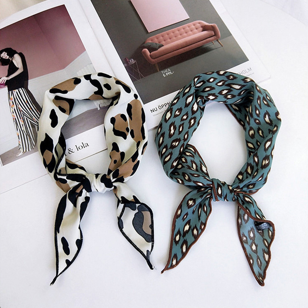 33*85cm 2019 Fashion Women Square   Scarf   All-match   Wraps   Elegant Floral Leopard Spring Summer Head Neck Hair Tie Band Neckerchief