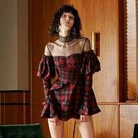 High quality black mesh wrap chest plaid flare sleeve dress