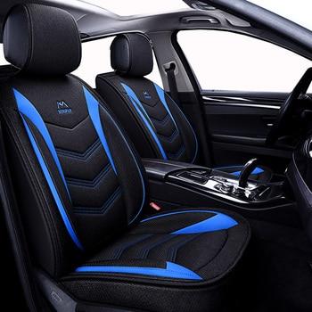 (Front + Rear) Universal Flax car seat covers For Fiat punto linea marea palio stilo tempra tipo of 2018 2017 2016 2015
