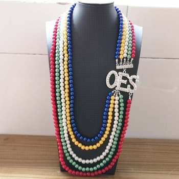 Topvekso African Pearl order of the eastern star Multilayer Statement Jewelry OES Color Long Pearl Necklace 1