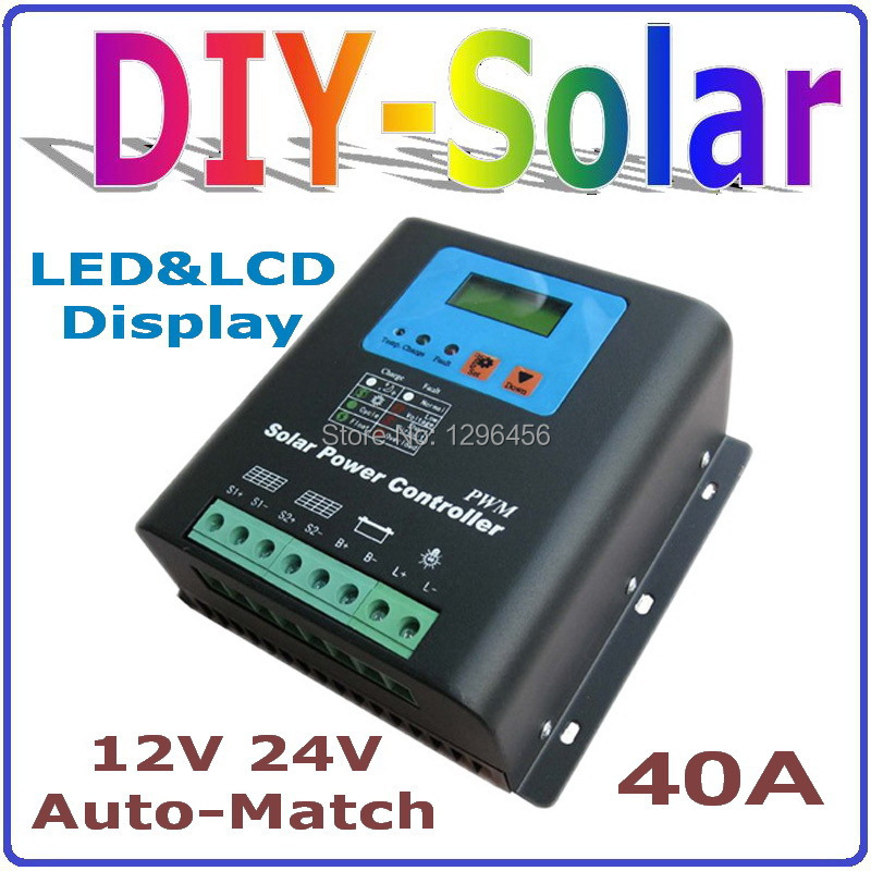 solar system 40A Solar Charge Controller 12V 24V Auto-Match Solar Battery Charge and Discharge controller Regulator system 3a 6v 12v mini solar charge and discharge controller waterproof load working 24 hours