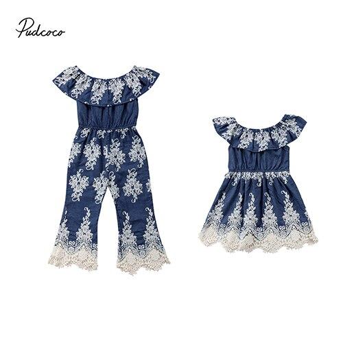63cd4b09e7a Pudcoco 2018 Одежда для детей  малышей  девочек Комбинезон сестра вышитые  кружева цветочный комбинезон платье праздничный наряд одежда принцесс.