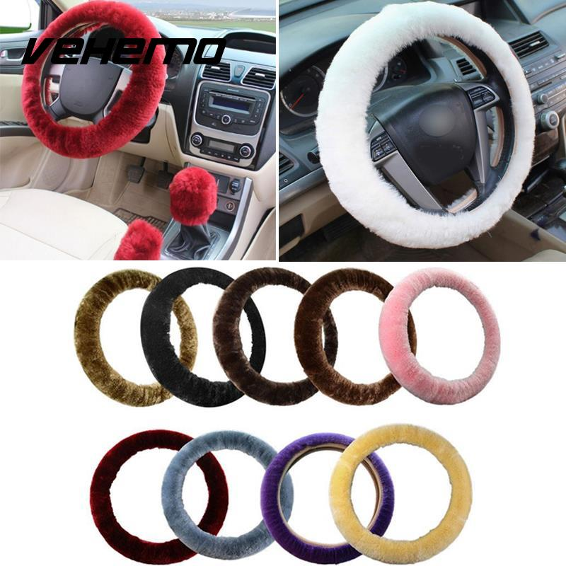 3Pcs Car Styling Plush Wool Car Steering Wheel Covers Hand Brake Gear Cover Stop Lever Cover Sets Auto Supplies Winter Warmer