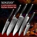 XINZUO 5 piezas conjunto de cuchillos de cocina vg10 de acero de Damasco inoxidable Acero Pro Chef Cleaver Santoku utilidad cuchillo G10 manejar