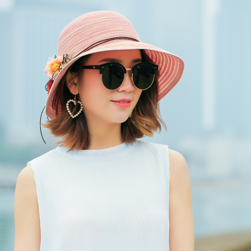 271a131f96f 2018 New Summer Fashion Sun Hats For Women Big Flower Floral Seaside  Collapsible Raffia Straw Hat Girls Straw Cap-in Sun Hats from Apparel  Accessories on ...