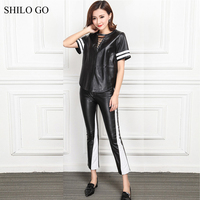 SHILO GO Leather Suit Womens Spring Fashion sheepskin genuine Leather Sets adjustable collar short sleeve blouse pencil pants