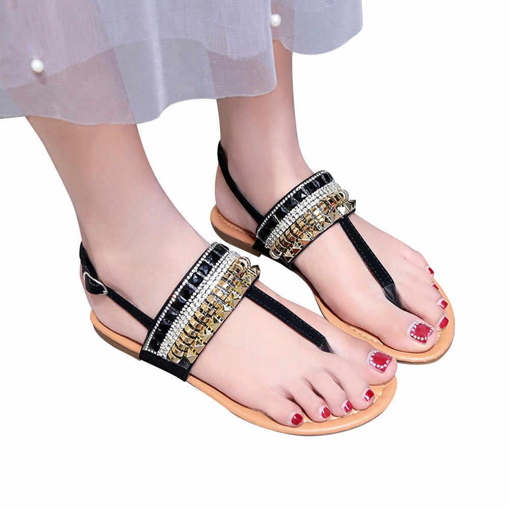 2019 Sandalias planas informales de diamantes de imitación bohemios sandalias de gladiador de mujer planas romanas de pie suave con Clip para mujer sandalias