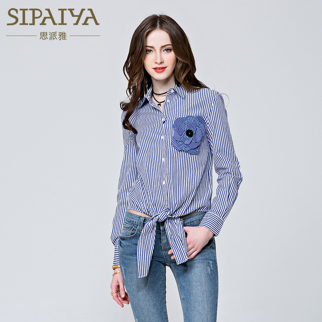 SIPAIYA 2017 Fall Fashion Casual Striped Button Up Womens Blouse Long Sleeve Cotton Blouses Women Flower Appliques Tunic Tops