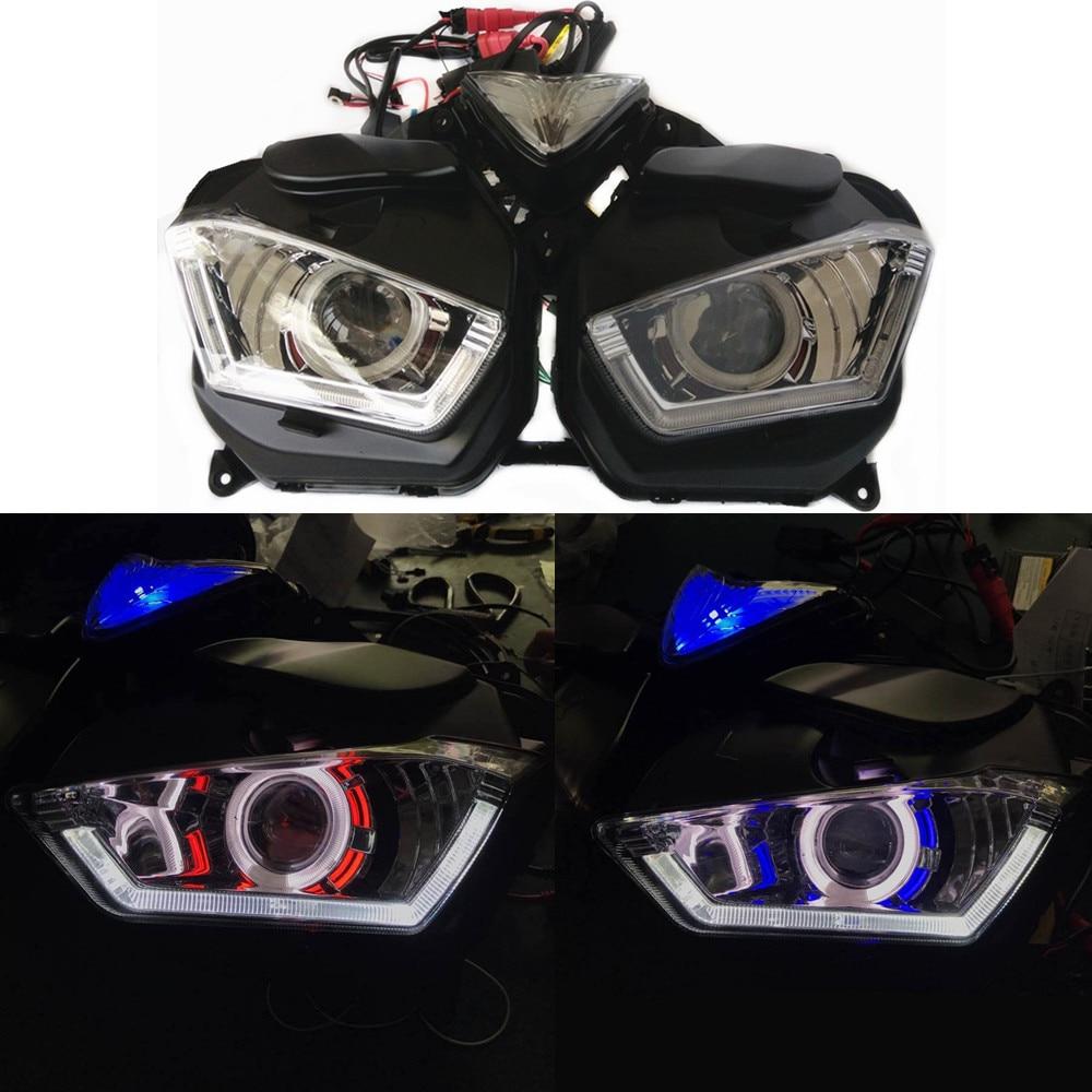 Modified Motorcycle r25 r3 headlamp head lamp  Demon Angle Eye Custom LED HID Headlight HeadLamp Light For YAMAHA YZF R25 R3 бейсболк мужские