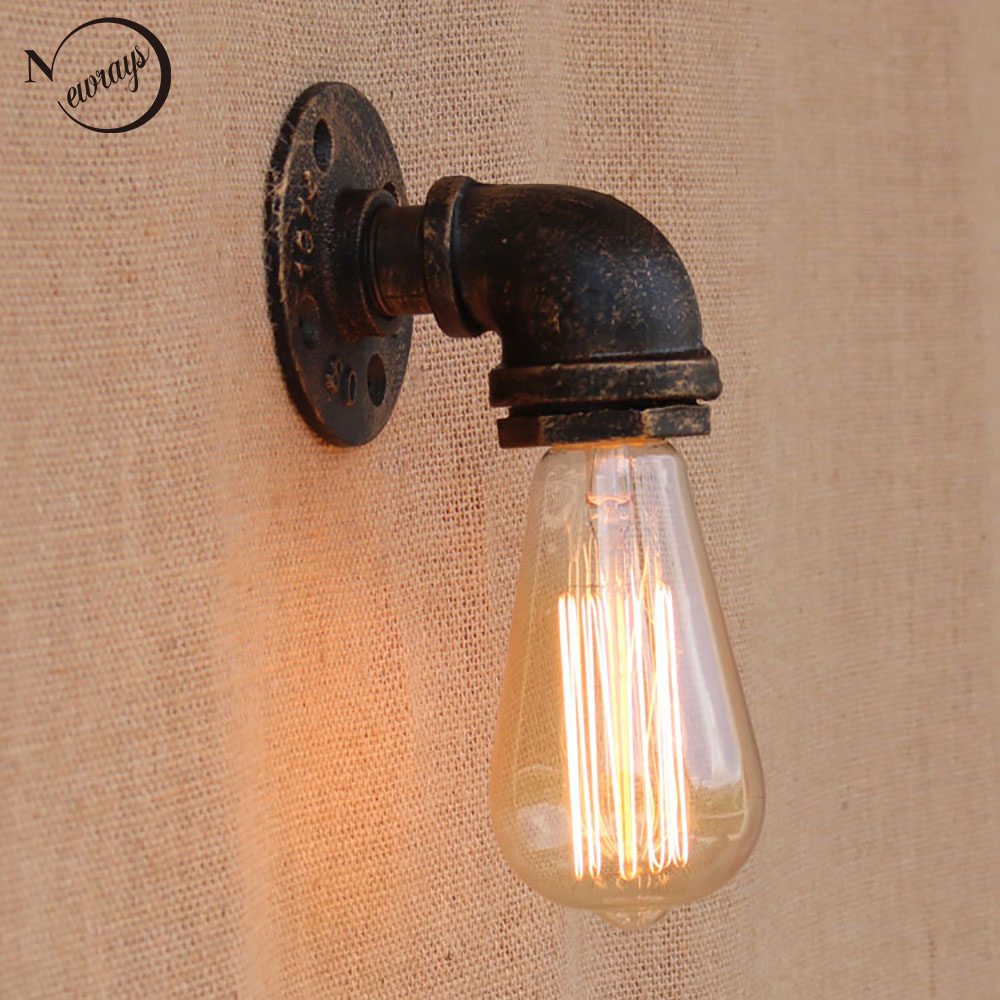 Loft Retro metal Water pipe vintage wall lamp with edison/led bulb E27 lights for cafe hallway bedroom living room bar cafe loft retro iron water pipe vintage wall lamp with edison led bulb e27 lights ac 110v 220v for cafe hallway bedroom study bar