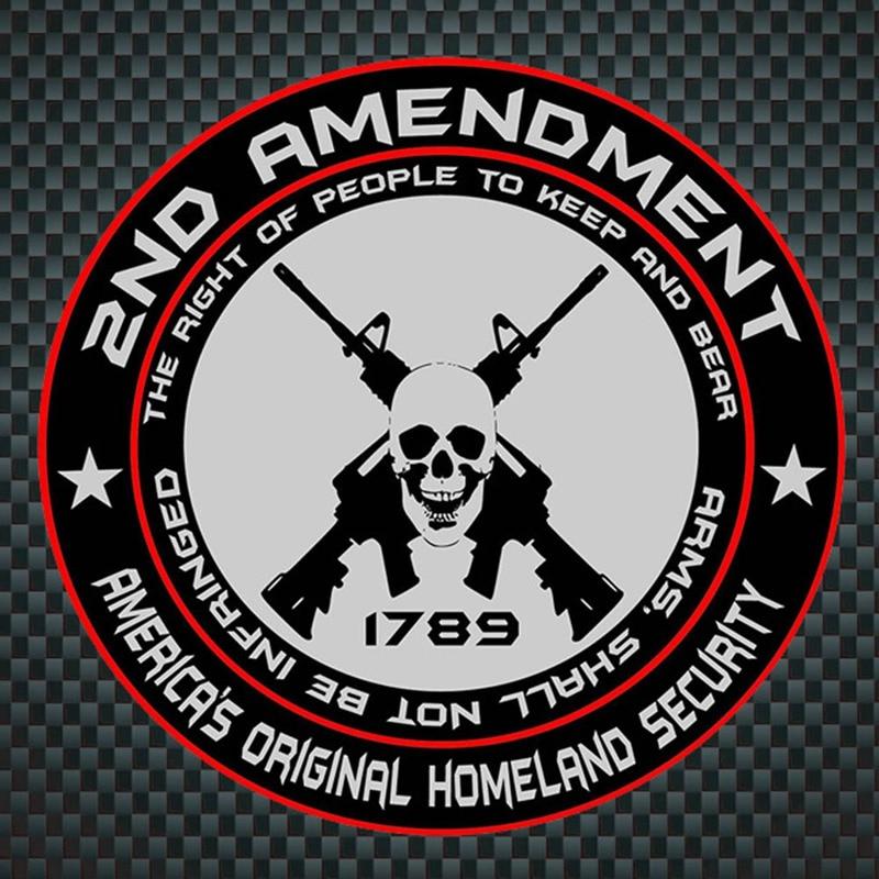 10CM*10CM Lnterest Reflective Car Sticker 2ND AMENDMENT AMENICAS ORIGINAL HOMELAND SECUNITY homeland