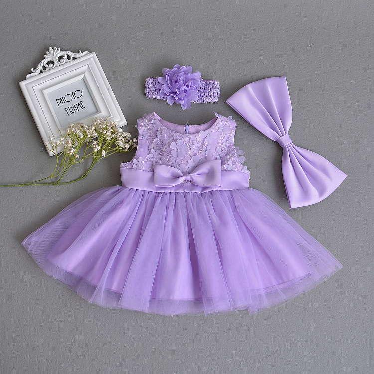 Baby Girls Dress Purple Lace Flower Clothes Wedding Party Gown Infant Dresses Newborn 1 Year Birthday Baby Dress Girl Clothes infant baby girl dress 2017 brand newborn girls princess party dresses 1 year birthday gift baby girl clothes child clothing