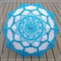 BRITNRY Fashion Handmade Sun Umbrella Cotton Wedding Umbrella Lace Embroidery Blue with White Umbrella Wedding Accessories