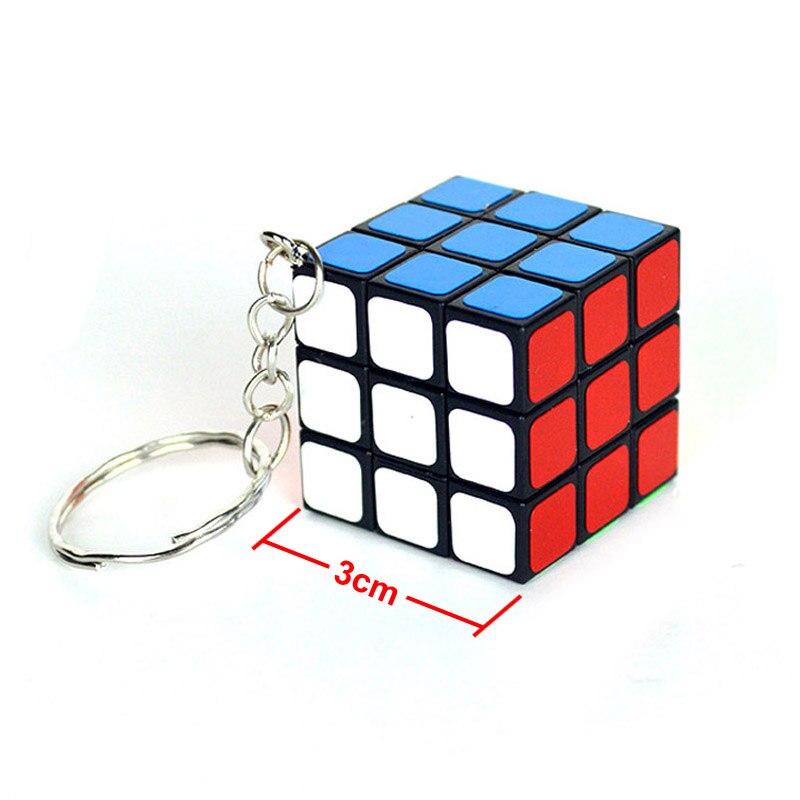 3*3*3 Magic Cube PVC Sticker Mini Portable Pocket Key-Chain Educational Cube Puzzle Toys For Children Adult Key Decoration I0096