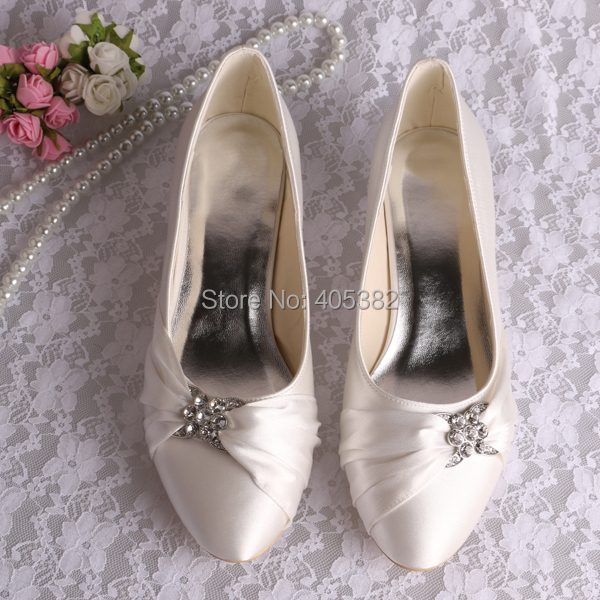 (20 Colors) Custom Handmade Low Heel Bride Gown Shoes Ivory for Lady Round Toe