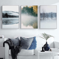 Nordic Tree Lake Sea Landscape Poster Canvas Art Printed Painting Modern Giclee Pictures Living Room Wall Decorative No Framed