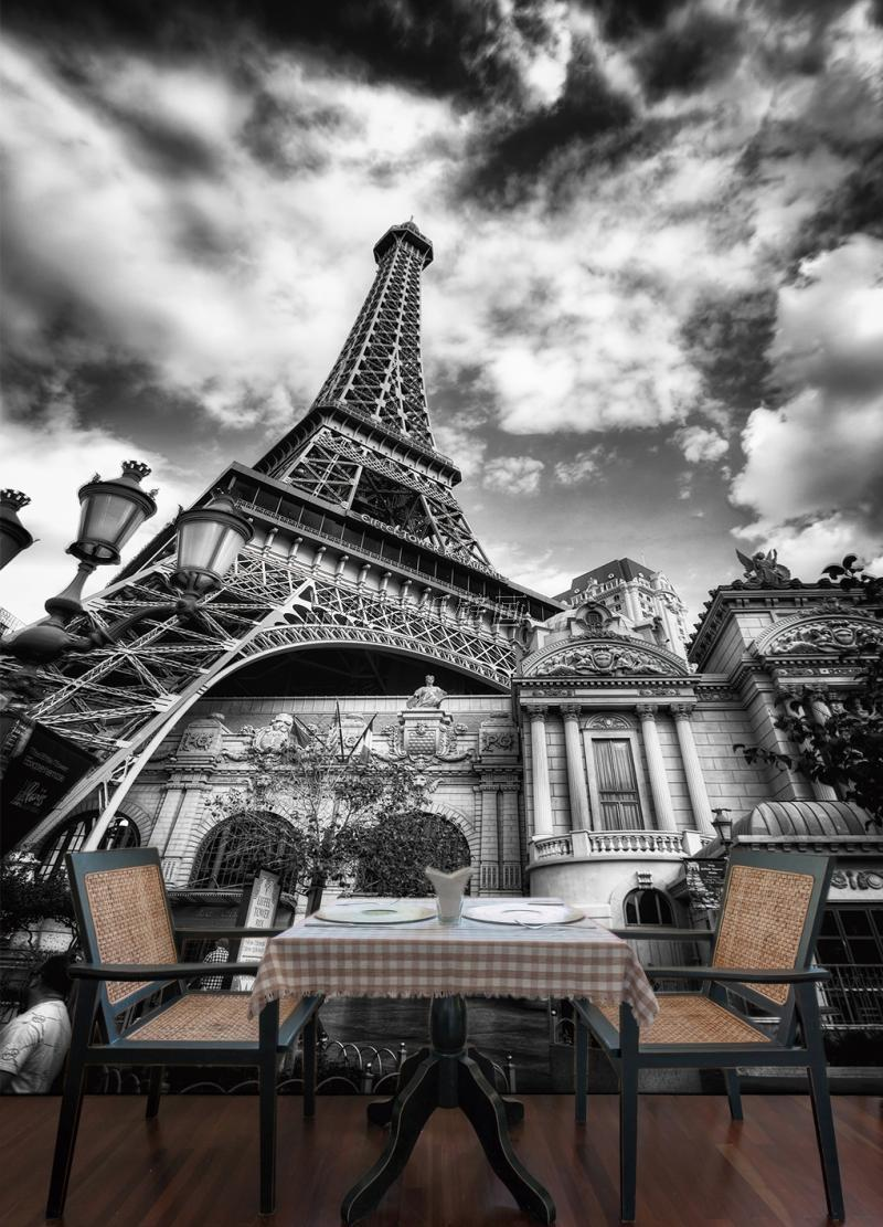 Custom Photo Wallpaper European Style Mural Of Eiffel Tower Black And White In Paris Wallpapers From Home Improvement On