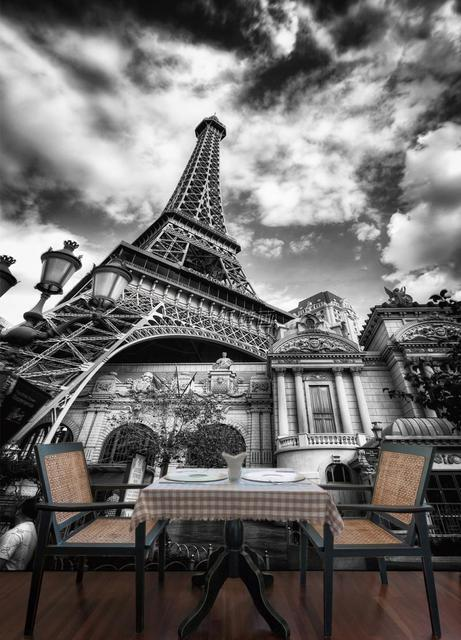 Custom Photo Wallpaper European Style Mural Of Eiffel Tower Black And White In Paris