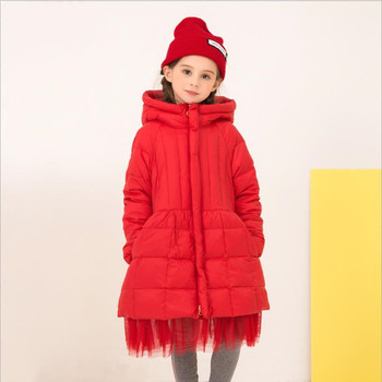 Teenage girls brand good quality hooded down jacket winter new white duck down outerwear for children clothes mesh patchwork top