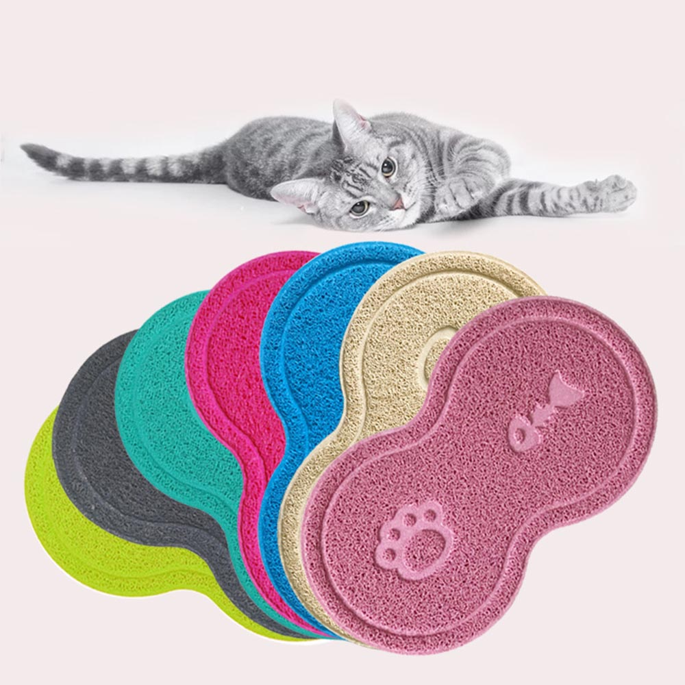 PVC Dog Puppy Cleaning Feeding Dish Bowl Table Mats Small Pad Placemat Cat Litter Mat Supplies Pets Wipe Easy Cleaning Pet
