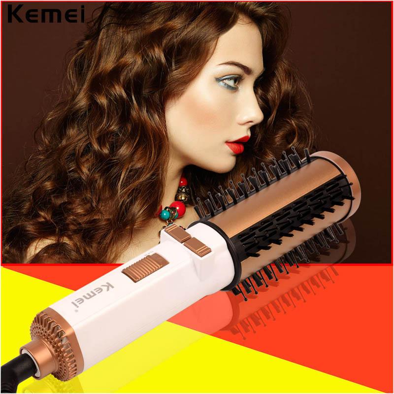 Kemei Hair Brush Electric Comb Hairbrush Ceramic Hair Straightener Curler Brush Salon Styling Brush Rotating Comb Straightening