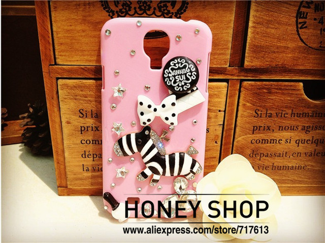 Free ship!100%handmade Luxury Bling 3D zebra Diamond Case For samsung galaxy i9500 s4!