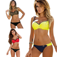 Купить с кэшбэком KINGTUT Plus Size Push Up Bikini Set Bandeau Lace Europe Poland America Women Swimwear 2019 Biquini Swim Suit Maillot De Bain