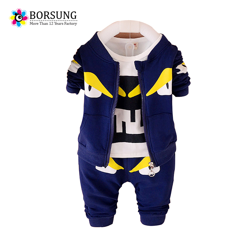 BORSUNG Toddler Boys Autumn Clothing Set For Kids Boy Boutique Monster Print Tracksuit Coat+T-shirt+Pants 3ps Suits Baby Clothes стоимость