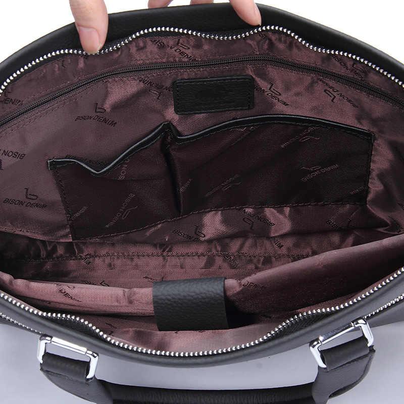 BISON DENIM homens Da Moda saco bolsa do couro genuíno sacos de ombro homens maleta bolsa para laptop de negócios