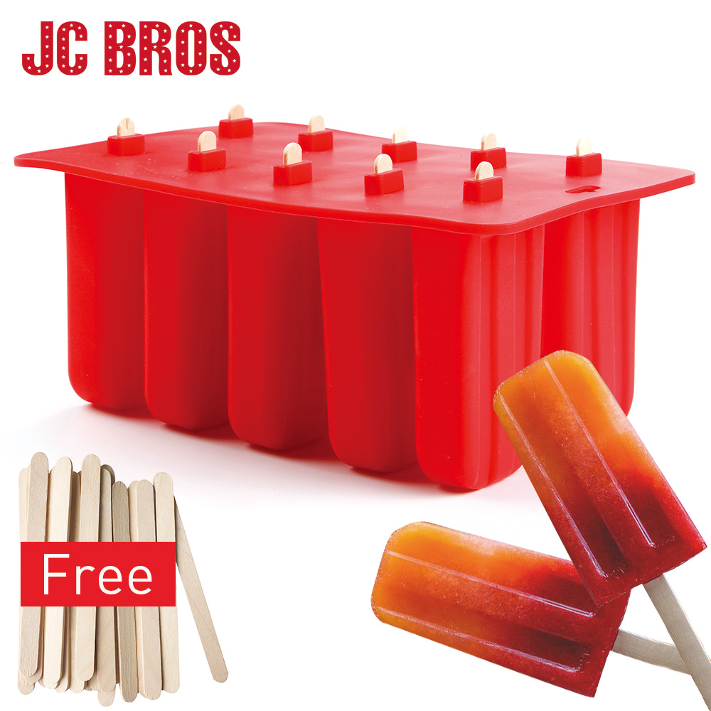 10 Cells Silicone Ice Cream Cube With Cover Tray Popsicle Molds Reusable DIY Frozen Ice Cream Pop Mold Kitchen Tools Childhood ...