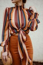 2019 New Fashion Women Stand Collar Stripe Printing Bandage Long Sleeves Tops Bluses korean style