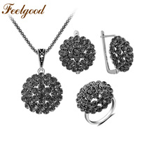 Feelgood Luxury Gray Crystal Cluster Flower Jewelry Set Vintage Silver Color Copper Necklace Earrings Ring Sets 2018 New Arrival