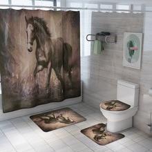 Pentium Horse Print Shower Curtain 4 Piece Carpet Cover Toilet Cover Bath Mat Pad Set Bathroom Curtain 12 Hooks