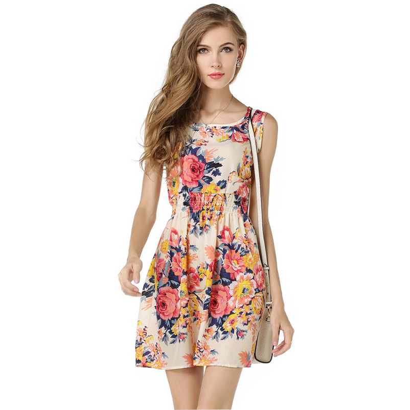 Summer Dress Floral Print Chiffon Sleeveless Cheap Summer Dress