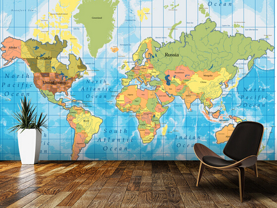 Custom Children's Wallpaper, 3D World Map Wallpaper Murals