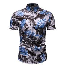 Short sleeve Blouse Men Floral Shirt for Men Slim Flower New Summer fashion Casual Men's Shirts Dress New