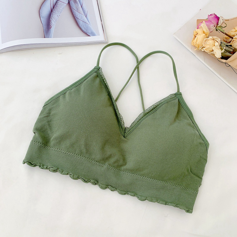 <font><b>2019</b></font> <font><b>Sexy</b></font> Wireless <font><b>Bra</b></font> Slim Wrapped Chest <font><b>Women</b></font> Cropped Top Female Padded Underwear Green <font><b>Bra</b></font> Intimates for Femme image