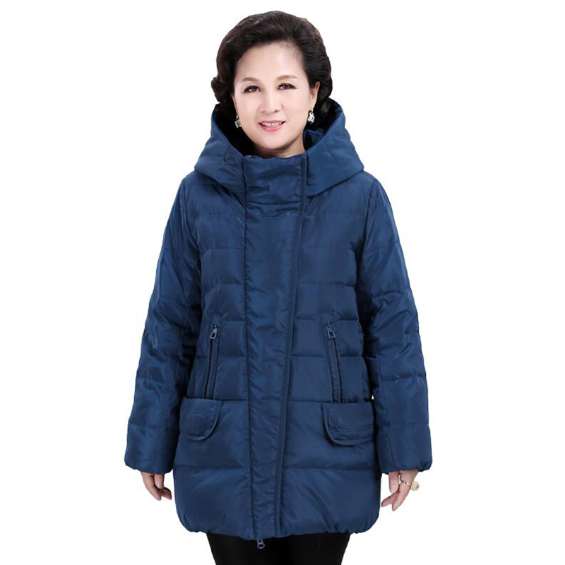 2018 Plus size Women Middle-aged   Down   jacket Thicken Big size Hooded mother clothes Warm White duck   down     coat   chaqueta mujer