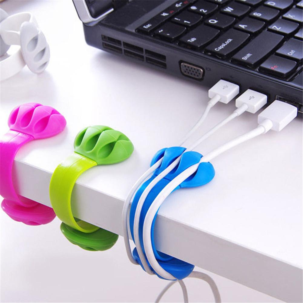 Holder Cable Winder Wire Organizer Desktop Clips Management Headphone Cord Holder For IPhone Charging Data Line Protect Office