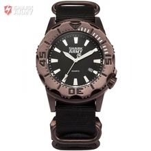SHARK ARMY Gift Package 100m Water Resistant Date Luminous Hands Nylon Band Wristwatch Clock Men Sports