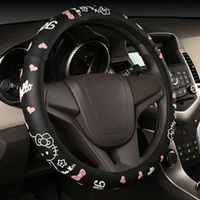 High Quality Rubber Leather Cartoon Patterns Car Steering Wheel Cover 11 Options Cartoon Sticker 38CM Fit