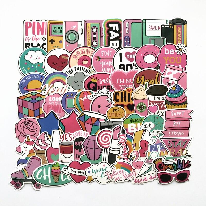 TD ZW 60Pcs/lot Pink Lovely Cartoon Stickers For Snowboard Laptop Luggage Car Fridge DIY Styling Vinyl Home Decor Pegatina