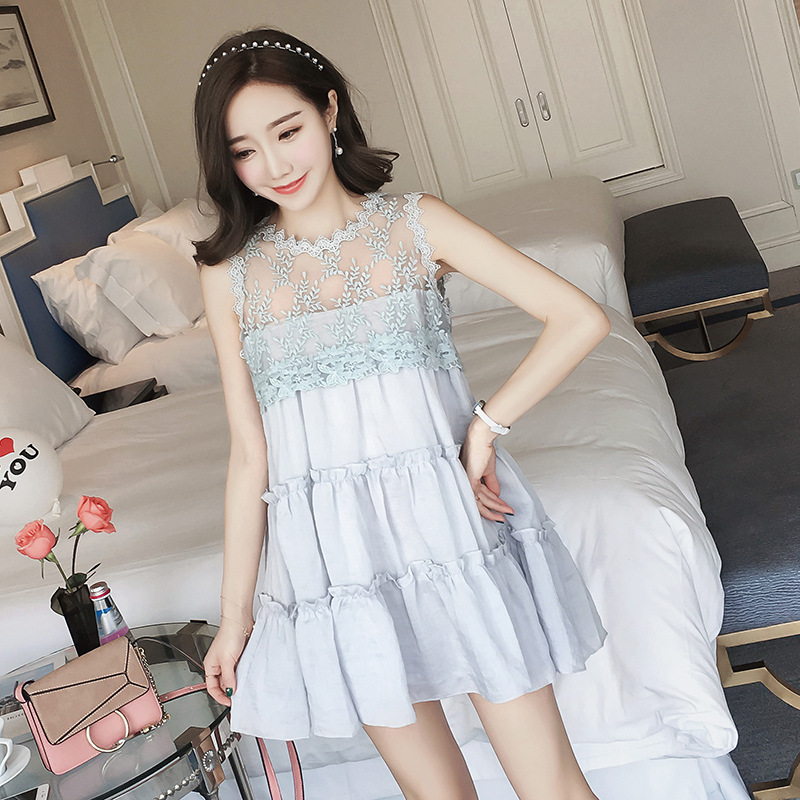 2018 Summer Patchwork Maternity Pregnant Women Dress Sleeveless Chiffon Lace Expectant Mother Clothes Breathable Maternity Dres