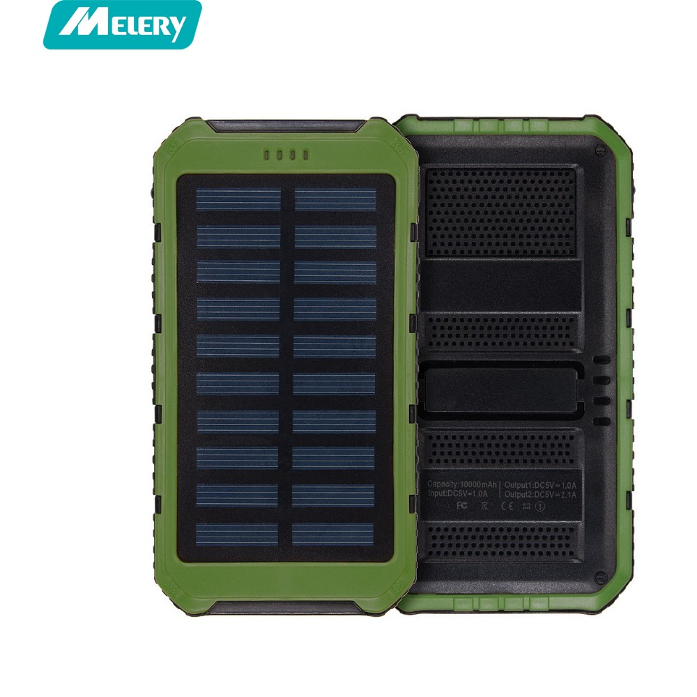 Melery Solar Power Bank Solar Charger 10000mAh Portable Backup External <font><b>Battery</b></font> Pack for <font><b>Cellphone</b></font>, Tablet, Camera