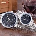 Nueva Marca de Moda Casual Hombres Reloj Completo Acero Inoxidable de Cuarzo Analógico Relojes de Las Mujeres relogios montre homme reloj de los pares