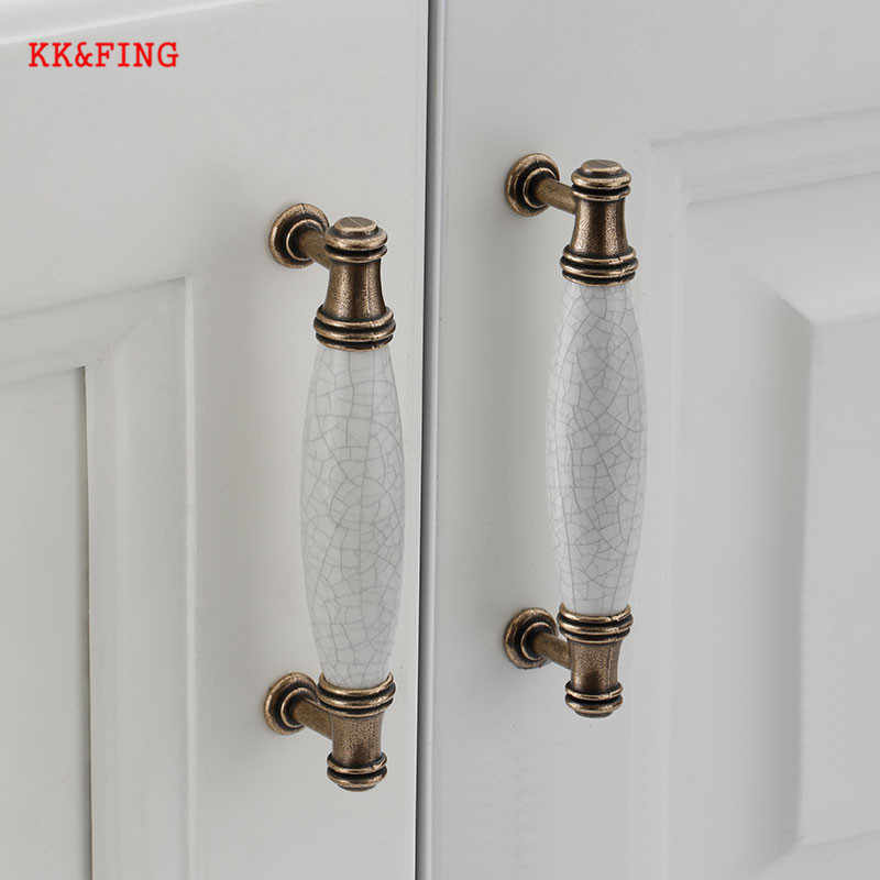 KK&FING Antique Crack Ceramic Handles For The Kitchen Cupboard Drawer Knobs Wardrobe Door Pulls Furniture Handle Hardware