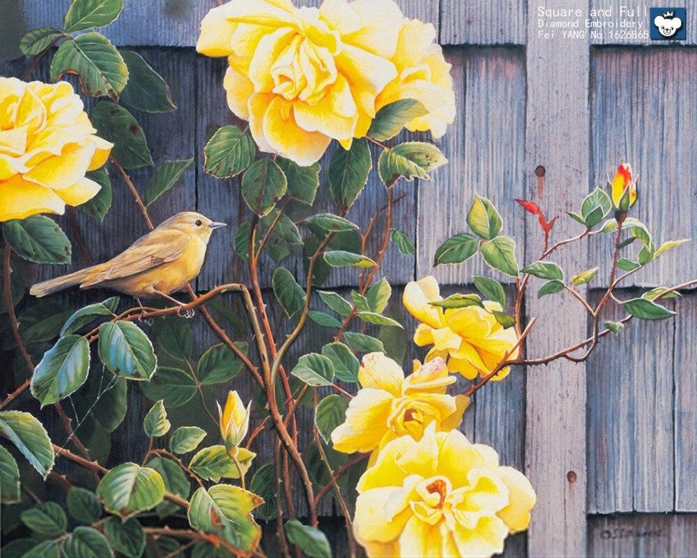 Diamond Embroidery Birds Sing Yellow Peony Flower Diy Diamond
