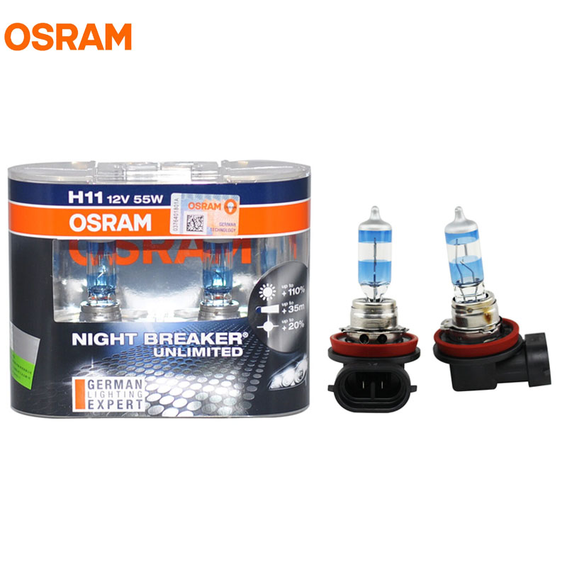 OSRAM H11 3600K NIGHT BREAKER UNLIMITED 12V 55W Headlight Hi/Low Bulbs 64211NBU 20% Whiter 40m Longer Beam 110% More Light Lamps цена и фото
